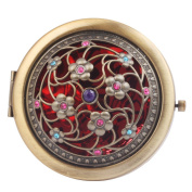 Round-Shaped Compact Makeup Mirror Bronze-Coloured Eight Little Flowers Red Bottom