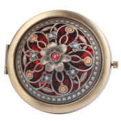 Round-Shaped Compact Makeup Mirror Bronze-Coloured Surrounding Five Little Flowers Red Bottom