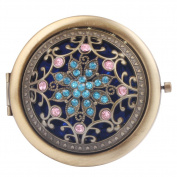 Round-Shaped Compact Makeup Mirror Bronze-Coloured Flower with Eight Leaves Blue Bottom
