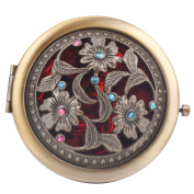 Round-Shaped Compact Makeup Mirror Bronze-Coloured Three Flowers Red Bottom
