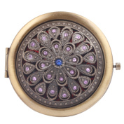 Round-Shaped Compact Makeup Mirror Bronze-Coloured Spreading Leaves Red Bottom