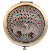 Round-Shaped Compact Makeup Mirror Bronze-Coloured A Peacock in His Pride Yellow Bottom