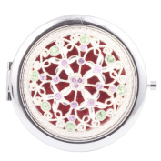 Round-Shaped Compact Makeup Mirror Circle Four Flowers Red Bottom