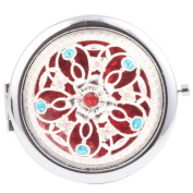 Round-Shaped Compact Makeup Mirror Surrounded Five Little Flowers Red Bottom