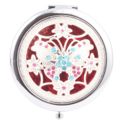 Round-Shaped Compact Makeup Mirror Four Flowers with Butterfly Red Bottom