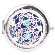 Round-Shaped Compact Makeup Mirror Double Hearts Blue Bottom