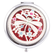 Round-Shaped Compact Makeup Mirror Dragonfly Red Bottom