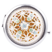Round-Shaped Compact Makeup Mirror Five Flowers Yellow Bottom