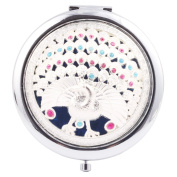 Round-Shaped Compact Makeup Mirror A Peacock in His Pride Blue Bottom