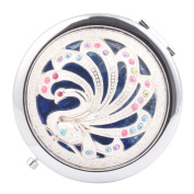 Round-Shaped Compact Makeup Mirror Phoenix Blue Bottom