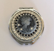 Vintage Look Black Cameo Beauty Crystal Rhinestone Cosmetic Makeup Compact Mirror USA