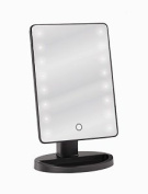 LED Light Table Top Beauty Vanity Mirror in Smooth Black Finish (17cm x 28cm ) with Touch Sensor and Adjustable Tilt