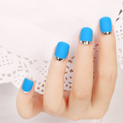 Umeet 24pcs/set Matte with Metallic French Acrylic False Fake Full Nail Tip Art Blue