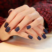 EFT 24pcs Lady Artificial False Nails Tips Simple Sexy Purplish Blue Opposite French Full Cover Medium Tips Nail Silver Moon