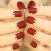 EFT 24pcs Lady Artificial False Nails Tips Simple Charming Red Opposite French Full Cover Medium Tips Nail Silver Moon