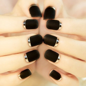 EFT 24pcs Lady Artificial False Nails Tips Simple Sexy Black Opposite French Full Cover Medium Tips Nail Silver Moon
