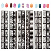EFT Quick Cute 6pc Mixed Design 12 Tips/sheet Full Sticker Nail Polish Vinyl Easy Use Manicure Stencil Stickers Bundle