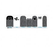 Cartoon Black & White Set 3 Nail Art Wraps Decals Nail Art Transfer Stickers Set of 14