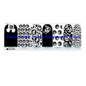 Cartoon Black & White Set 2 Nail Art Wraps Decals Nail Art Transfer Stickers Set of 14
