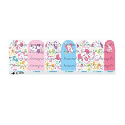Cartoon Pink & Blue Nail Art Wraps Decals Nail Art Transfer Stickers Set of 14