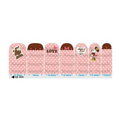 Cartoon Pink & Brown Nail Art Wraps Decals Nail Art Transfer Stickers Set of 14