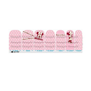 Cartoon Pink & White Nail Art Wraps Decals Nail Art Transfer Stickers Set of 14
