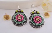 Vintage Lady Colourful Beads Charms Luckly Rhinestones Ethnic Clip On Earrings For Women Statement Jewellery Colour