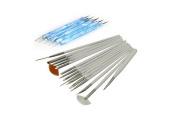 Nail Art Design Painting Drawing Brushes (15pcs) and 5 X 2 Way Marbleizing Dotting Pen Tools Set/nail Art Painting Pen Brush