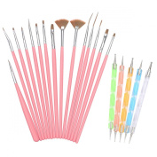 H88 - 15 x Nail Art Painting Dotting Drawing Polish Brush Pen Tools Kit Set Pink