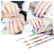Professional 4pcs/set Gel UV Nail Print Brush Kit Nail Art Design Painting Tool Pen Polish Brush Set Kit