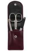 Sonnenschein Exclusiv German Made 3 Piece Leather Manicure Set Burgundy