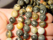 "Picasso Marble 10 Mm Round Beads Strand 16"" Long"