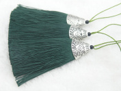 10pcs Dark Green Silky Handmade (5.6cm ) Soft Fibre Tassels with Antique Silver Cap