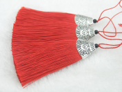 10pcs Red Silky Handmade (5.6cm ) Soft Fibre Tassels with Antique Silver Cap
