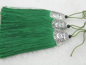 10pcs Kelly Green Silky Handmade (5.6cm ) Soft Fibre Tassels with Antique Silver Cap