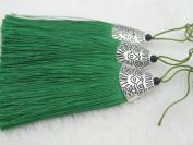 10pcs Kelly Green Silky Handmade (5.6cm ) Soft Fibre Tassels with Antique Silver Cap
