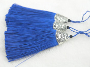 10pcs Royal Blue Silky Handmade (5.6cm ) Soft Fibre Tassels with Antique Silver Cap