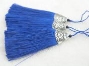 10pcs Royal Blue Silky Handmade (5.6cm ) Soft Fibre Tassels with Antique Silver Cap