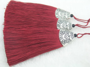10pcs Burgendy Silky Handmade (5.6cm ) Soft Fibre Tassels with Antique Silver Cap