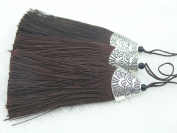 10pcs Brown Silky Handmade (5.6cm ) Soft Fibre Tassels with Antique Silver Cap