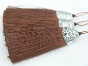 10pcs Light Brown Silky Handmade (5.6cm ) Soft Fibre Tassels with Antique Silver Cap