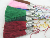 U-pick--12 Colours 10pcs Silky Handmade (5.6cm ) Soft Fibre Tassels with Antique Silver Cap