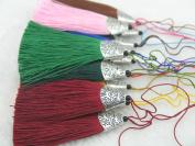 U-pick--12 Colours 10pcs Silky Handmade (5.6cm ) Soft Fibre Tassels with Antique Silver Cap