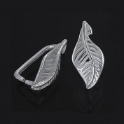 2PC Sterling Silver Leaf Pendant Clasp Pinch Bail