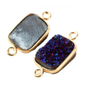 2pcs Natural Druzy Agate Rectangle Fancy Blue 10*14mm Connector Gold Bezel Two Hooks Gemstone Beads