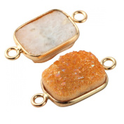 2pcs Natural Druzy Agate Orange Rectangle 12*16mm Connector Gold Bezel Two Hooks Gemstone Beads