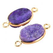 2pcs Natural Druzy Agate Purple Oval 12*16mm Connector Gold Bezel Two Hooks Gemstone Beads
