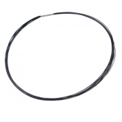 HOUSWEETY Stainless Steel Jewellery Finding Black 25-Circle Memory Wire Necklace
