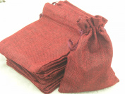 25pcs 12.5x17.0cm Dark Red Hemp/hessian Bags, Jewellery Pouches, Wedding Favours, Jewellery Packing, Gift Bags
