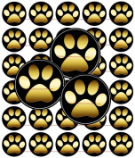 60 Precut 2.5cm GOLD PAW PRINTS Bottle Cap Images